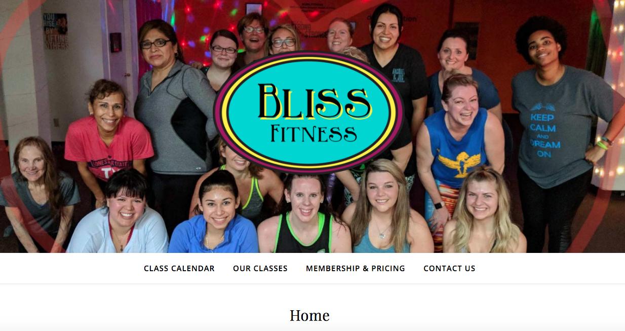 Bliss Fitness Website Image